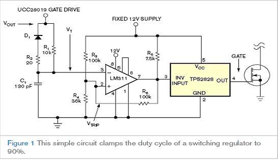 100kHz。绝大多数的 PWM 控制器都不能达到 100% 的占空比,并且有特定的无反应时间。就本例而言,无反应时间为 300nsec。对定时电容进行设置也要求知道最大的 PWM 输出电压 VOUT。就本例而言,最大的输出电压为 12V。定时电容大约为 130pF。设计使用一个标准的 120pF 电容。以下方程详述了计算步骤:t=(1-DMAX)(1/fS)-无反应时间=700 nsec,以及   对图 1 中电路进行了 SPICE 仿真以确保占空比钳位功能可在电路中正常工作。图 2 显示了这一仿真的结