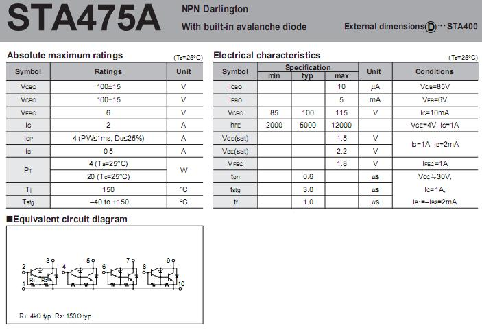 sta475a:npn darlington with built-in avalanche diode!